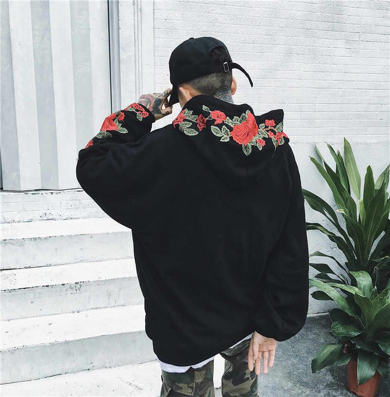 День Святого Валентина толстовка женская одежда роза Вышивка Уличная толстовки harajuku толстовка женская 2019 черный Модные
