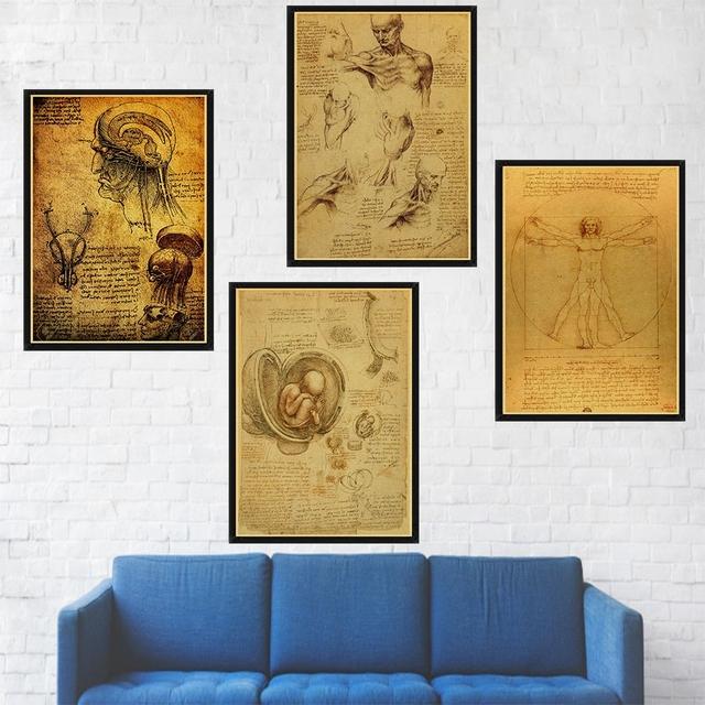 Pósteres Vintage de la imagen del libro de la escritura del Hombre vitruviano cartel del arte de la decoración del hogar Decoración de la pared póster del arte