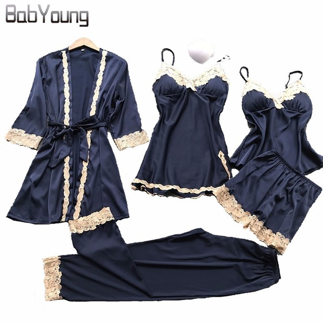 BabYoung 2018 Winter Women Silk Robe Tops Shorts Pajamas Sexy Long Sleeve Robes Set Camisole Lace Nightwear Home Wear 5 PCS