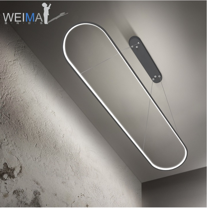 Dimmable Ellipse Pendant Light / Wire Hanging Lamp Of Athletic Track / Steel Frame+Polycarbonate Shade