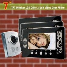 7 Inch Monitor Video Door Phone Intercom Doorbell Doorphones Intercom Night Vision Intercom System For Home 3 Monitor + 1 Camera