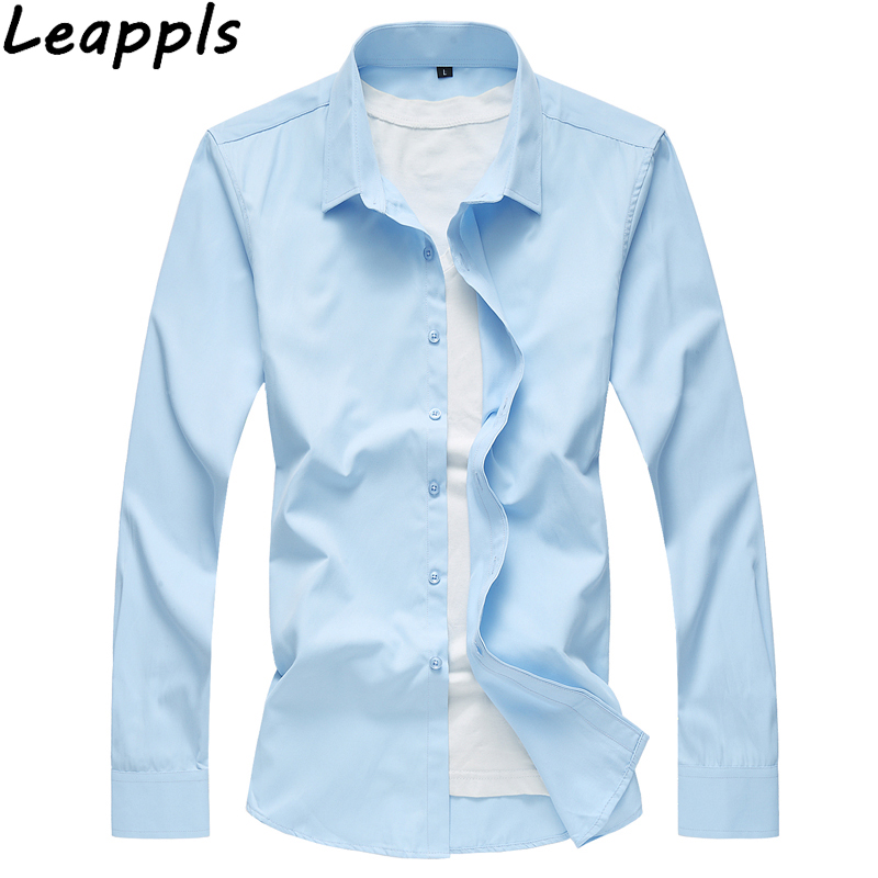 Leappls Plus size 4XL Casual Shirts men Streetwear Tuxedo Shirts Slim fit Mens Business shirt fashion Light blue 2018 summer New