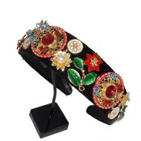 New Limited Edition Baroque Multicolor Flowers Crown Handmade Tiara Crystal Wide Headbands Wedding Hair Jewelry Gift