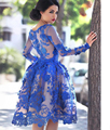 vestidos de festa Lace Appliques Arab Dubai Blue Short Muslim Dresses Long Sleeve Knee Length Cocktail Dress 2016 With Jacket