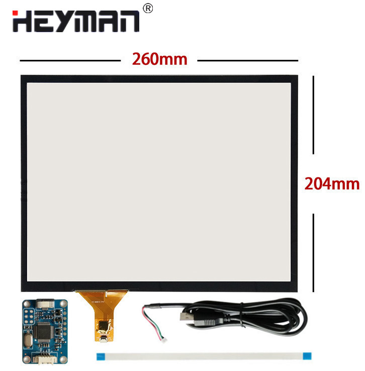 12 inch 260mm*204mm Capacitive Touch Digitizer Raspberry Pi tablet PC navigation Touch screen panel Glass+USB Driver board dmc t2724s1 touch glass panel board