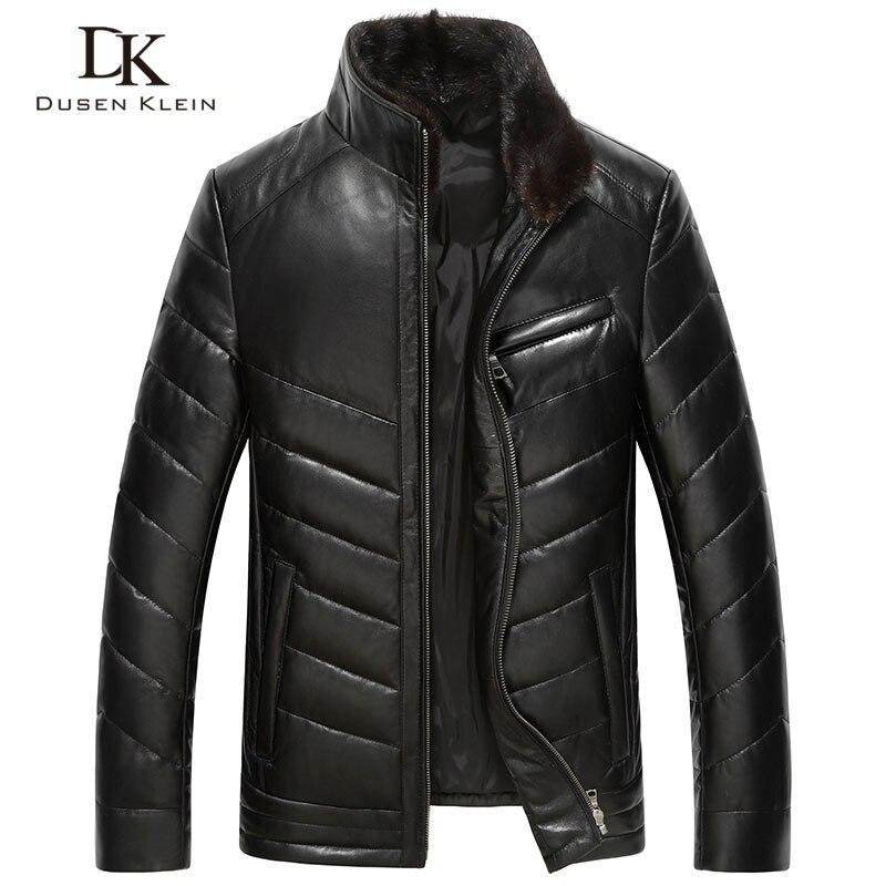 Dusen Klein 2017 Nuovo di cuoio di Lusso Giù cappotti degli uomini Del Cuoio Genuino del mens di Alta qualità di pelle di pecora cappotto di Inverno Nero 61J5833