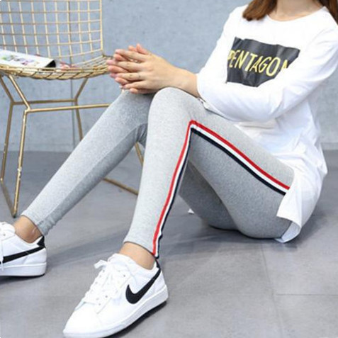 Fsdkfaa New 2018 Plus Size S-5XL Leggings Women Side Striped Legging High Waist Christmas Gothic Black Leggins Pants