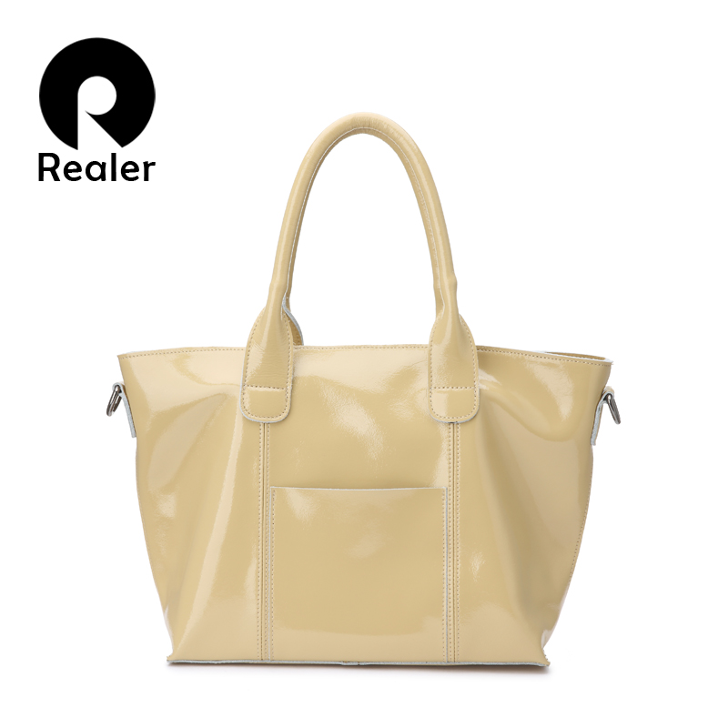 REALER women handbags patent leather ladies crossbody bag casual totes new arrivals high quality large capacity