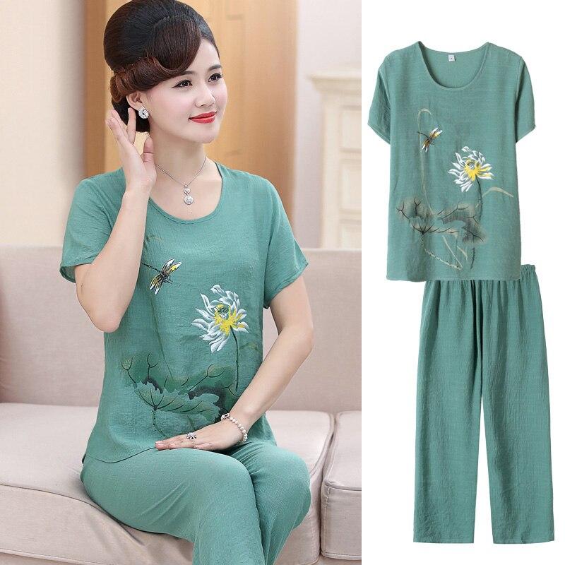 2pcs/set , Fashion Middle Age Women Short-sleeve Top + Wide Leg Pants Twinset Mother Clothing Summer Loose Cotton Linen Set