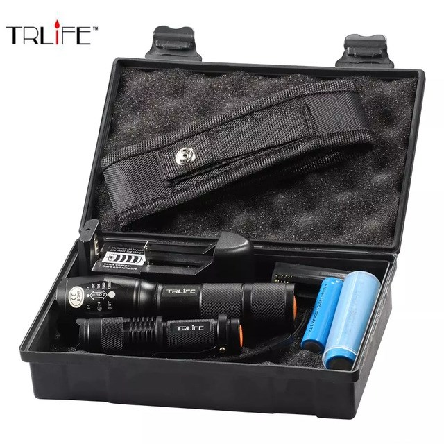 8000Lumen Outdoor LED Tactical Flashlight Super T6/L2 Ultra Bright Focus Zoom Torch With Battery+Mini Flashlight +Charger ultra bright tactical flashlight usb rechargeable 26650 16340 battery xml t6 led torch for camping security emergency use