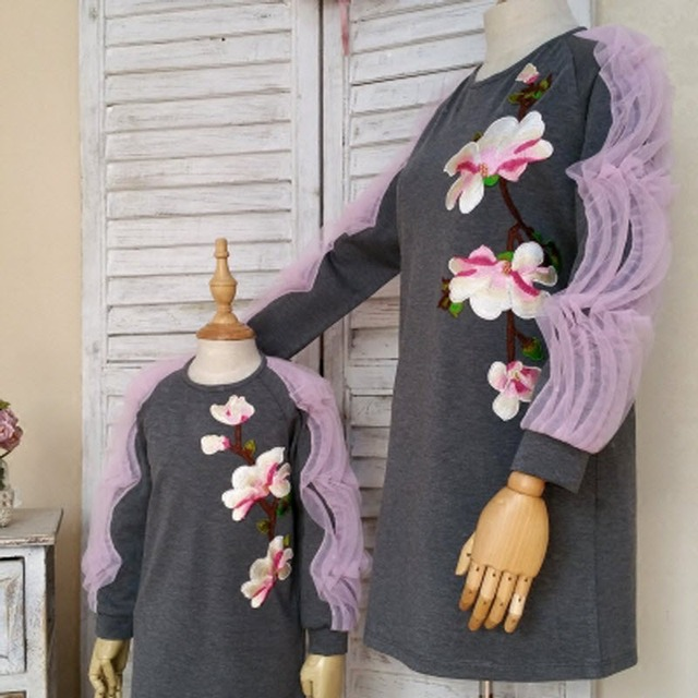 Children clothing Мать и Дочь Платья Персик цвести, 2-10 лет Ребенок девочка одежда, женщины плюс Большой размер 4XL
