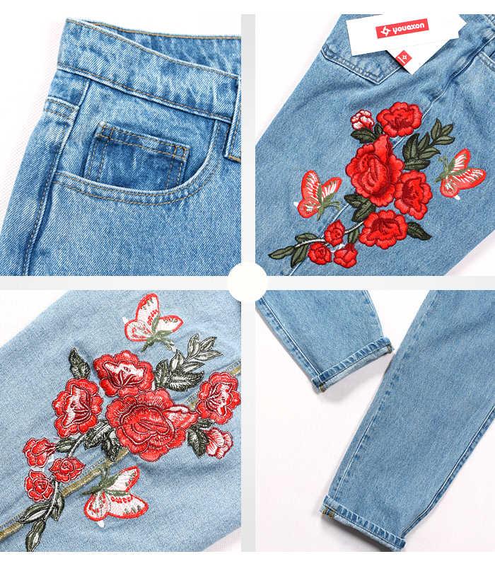 2121 Youaxon Джинсы бойфренда с высокой талией для мамы с вышитыми цветами женские новые винтажные джинсовые штаны джинсы для женщин