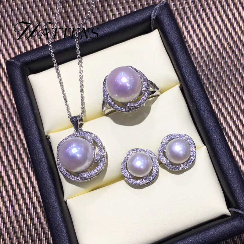 ไข่มุกธรรมชาติชุดเครื่องประดับไข่มุกจี้สร้อยคอแหวนต่างหูสำหรับผู้หญิง 925 เงินสเตอร์ลิงสีขาวงานแต่งงานของขวัญเครื่องประดับ