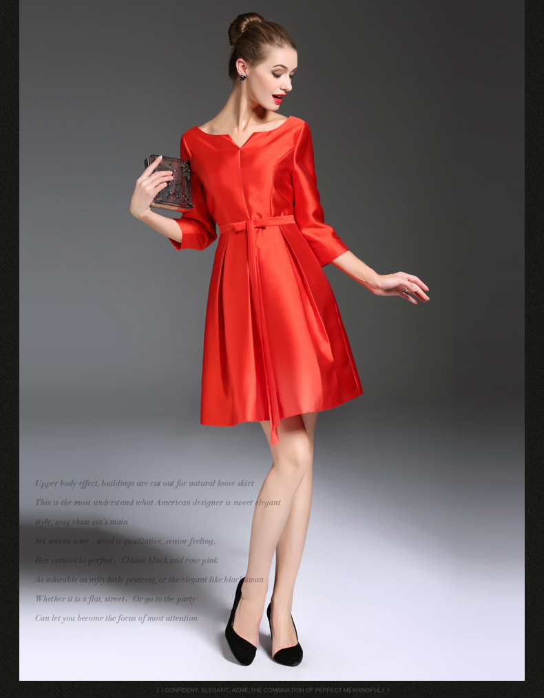 Bridesmaid dresses spring promotion shop for promotional women dress summer dress spring new red bridesmaid tasting seven sleeves dress ombrellifo Gallery