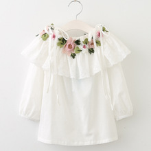 Girls Blouses For School 2018 New Spring Kids Clothes Tops Girl Shirts O-neck Sweet Embroidery Floral Children Clothing 3bs048