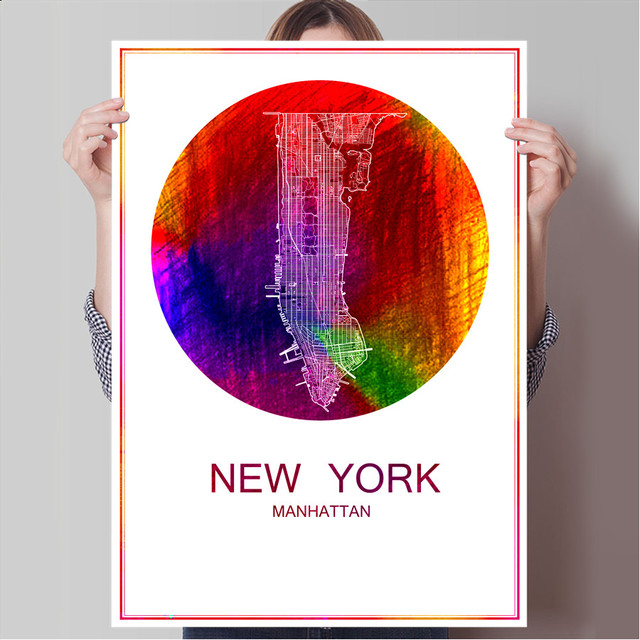 New york usa world famous city map print poster print on paper or canvas wall sticker