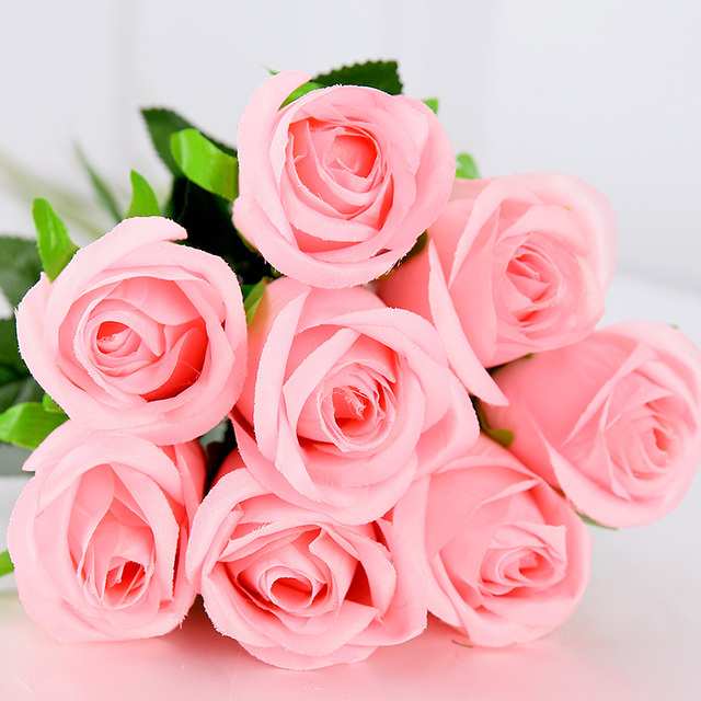 Pink color Real Touch Rose Decor Rose Artificial Flowers Silk ...