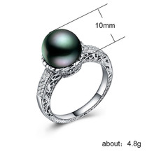 925 silver jewelry stainless steel ring Zircon couple pearls rings Treasure luxury Indian Stone vintage black pearl B954