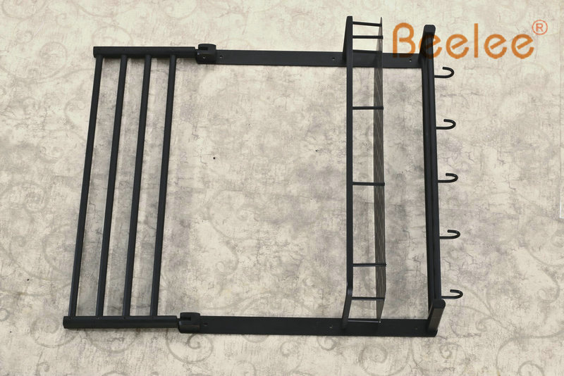 Beelee BL8501B Oil Rubbed Bronze Storage Holder Wall Mount Bath Shelf With Towel Bar Dual Tiers Bathroom Accessories