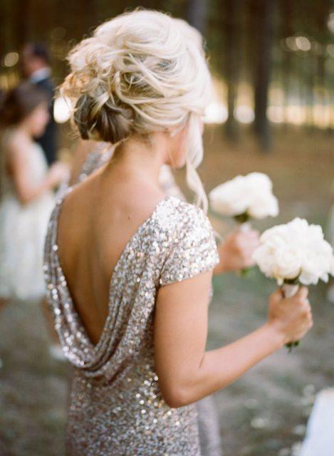 Long Sequined Short Sleeve Floor Length Bridesmaid Dress