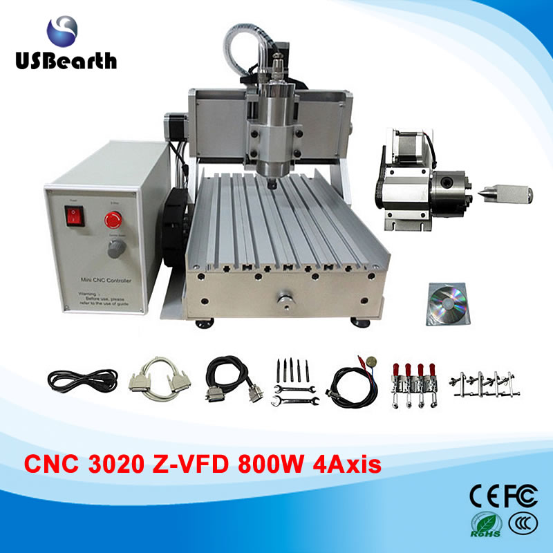 4 axis cnc milling machine  3020Z-VFD 800w water cooled spindle cnc machine cnc 5axis a aixs rotary axis t chuck type for cnc router cnc milling machine best quality