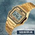 Oro Led Digital Cronógrafo de Acero Inoxidable Reloj de pulsera Hombres Del Reloj Del Deporte Impermeable Reloj Relojes Masculino Del Relogio masculino 1123