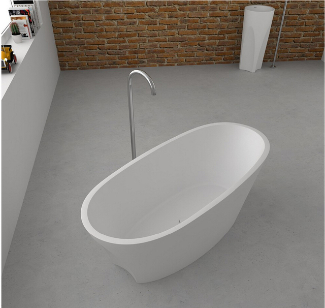 1700x800x480mm Solid Surface Stone CUPC Approval Bathtub Oval Freestanding  Corian Matt Or Glossy Finishing Tub RS65101