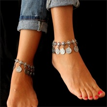 Silver Color Bohemian Metal Tassel Anklet 2016 Luxury Charm Coin Ankle Bracelet For Women Jewelry Summer Style