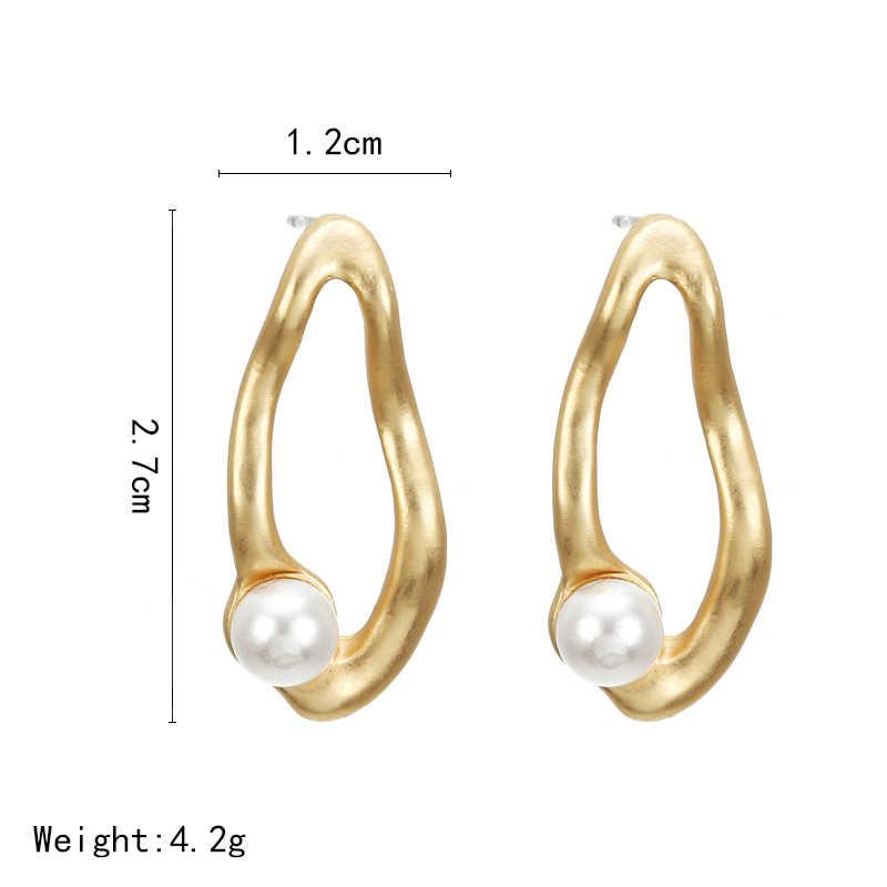 F36 エレガントなマットメタルゴールドスクエアハートトライアングル幾何不規則な天然模造真珠ドロップ女性ガール