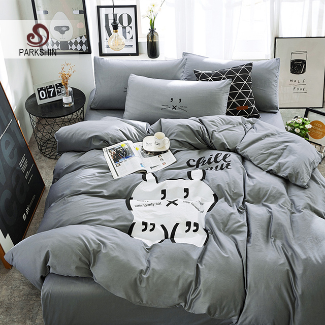 Parkshin Cat Bedding Sets Linen Cotton Gray Bedspread Comforter Duvet Cover Double Bed Sheets Twin Queen King Bedclothes