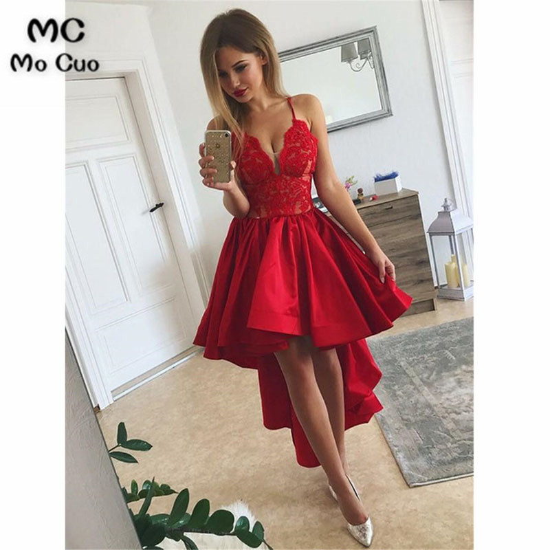 2019 Elegant Hi Lo Gown Red   Prom     dresses   Long Deep V-Neck Spaghetti Straps   dress   for graduation Evening   Prom     Dress