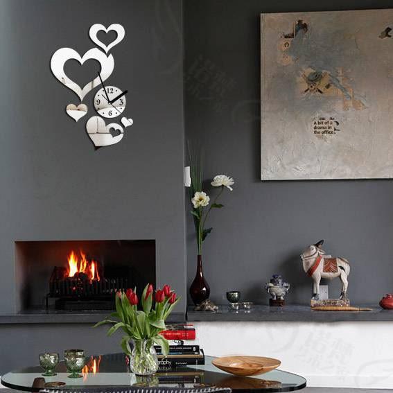 Cute Heart Shape Design Fashion Crystal Mirror Wall Clock Novelty Home Decor Sticker Free Shipping