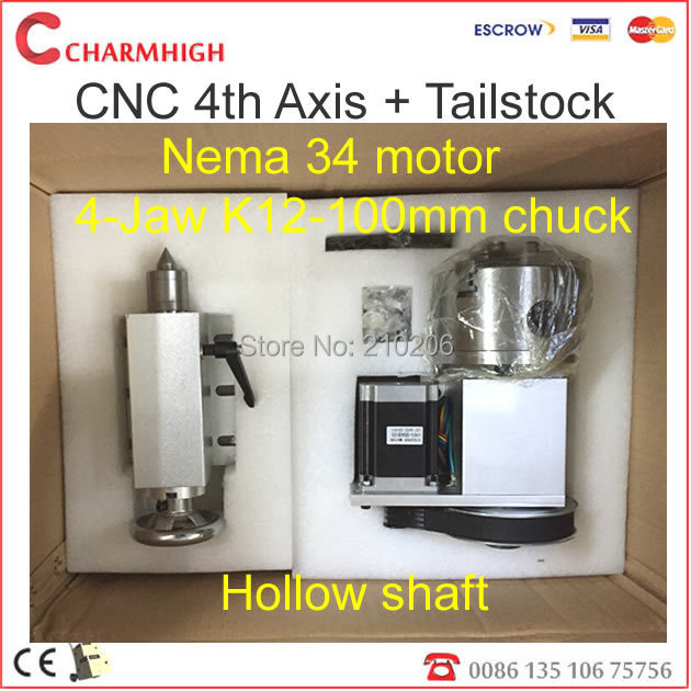 Nema 34 stepper motor (4:1) K12-100mm 4 Jaw Chuck 100mm CNC 4th axis A aixs rotary axis + tailstock for cnc router, best quality