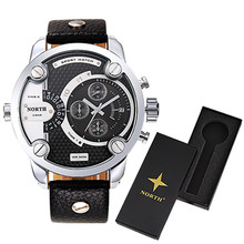 NORTH brand men sports watches Military Sports Watch Quartz Male Wristwatches 30M waterproof with watch box Relogio Masculino