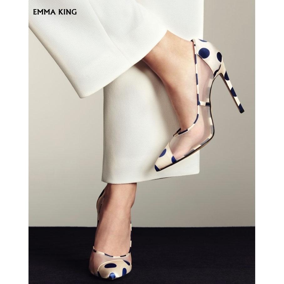 2019 NEW Elegant Polka-Dot Mesh Point Toe Pumps Women Stiletto High Heels Fashion Party Dress Wedding Shoes Woman Plus Size