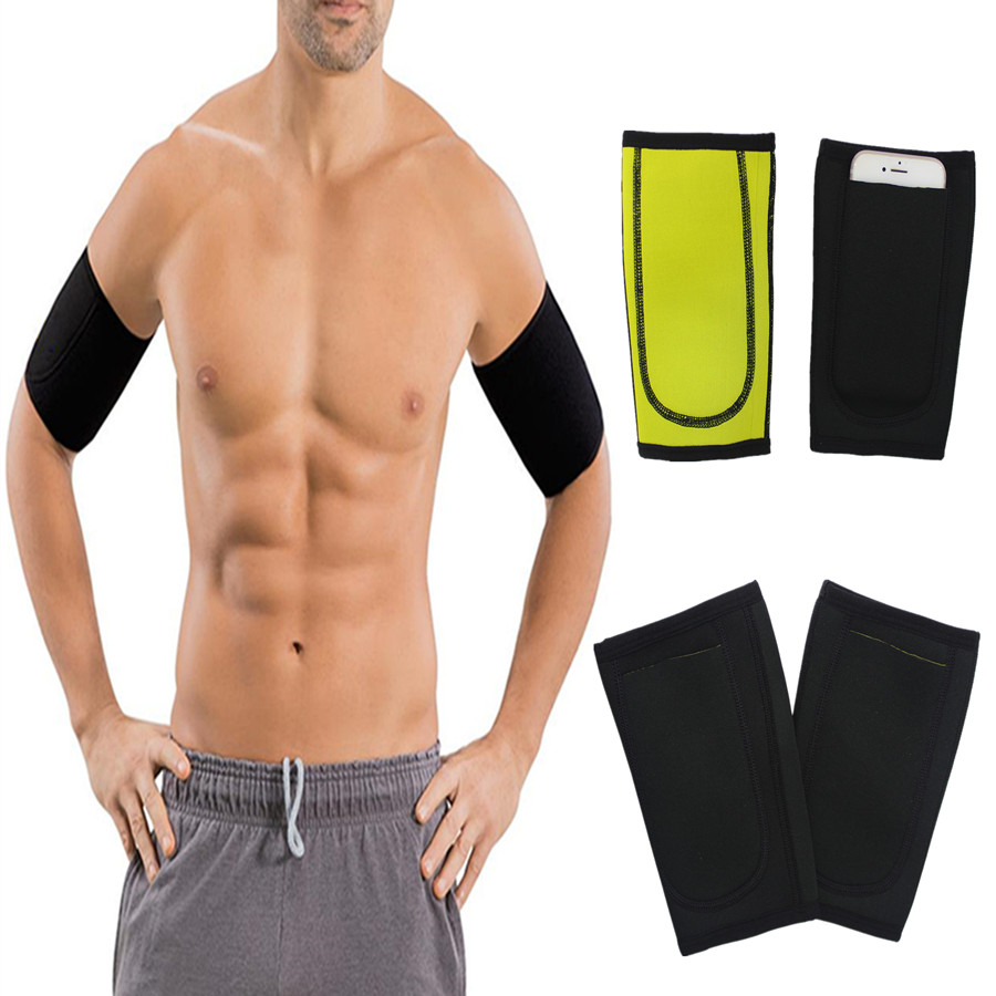 Men 1 Pair Arm Sleeve Sauna Sweat Body Shapers Running Arm Warmers Fitness Slimming Trimmer Compression Support Fitness Neoprene