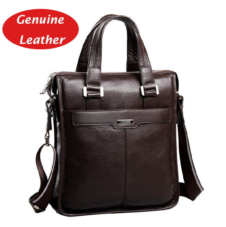 P KUONE business casual fashion design 100 cowhide Genuine leather men handbag shoulder bag for ipad