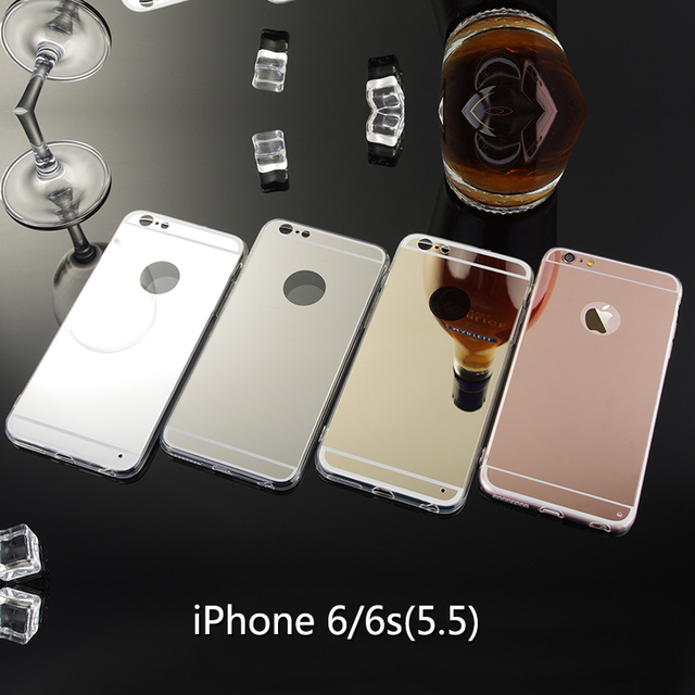 Rose Gold Phone Case For Apple iPhone 6 Plus Mirror Case Soft TPU Back Cover Case For iPhone 6S PLus Espelhada Cell Phone Shell