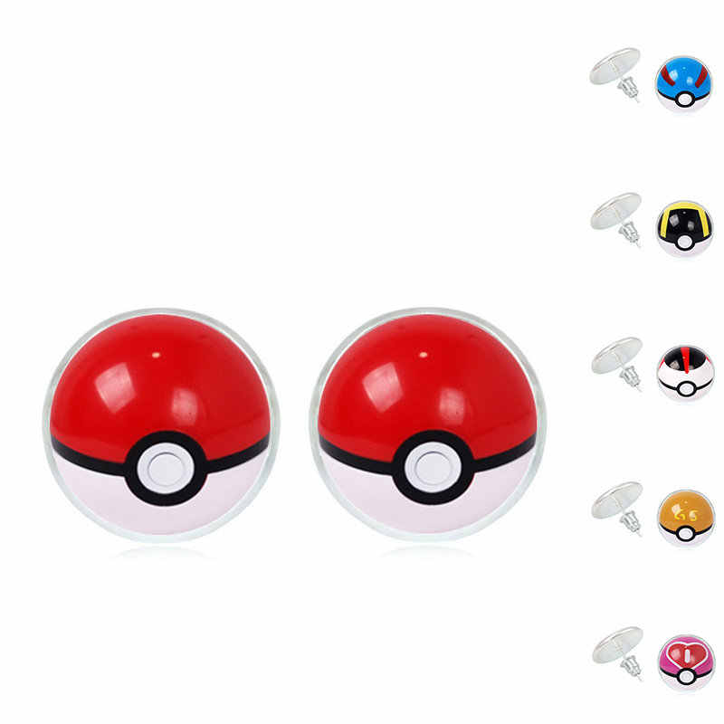 Pokemon Pokeball Earrings Vintage Glass Cabochon Stud Earrings Fashion Silver Earring for Women Jewelry bijoux