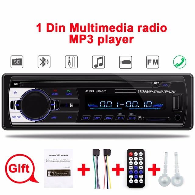 Din Autoradio Carro 1 12 V Bluetooth Estéreo Do Carro In-Dash Rádio FM Receptor USB SD Entrada Aux MP3 MMC WMA Jogador Rádio Do Carro