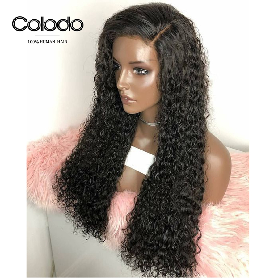 COLODO 180 Density Remy Hair Brazilian Curly Wig Glueless Full Lace Human Hair Wigs For Black