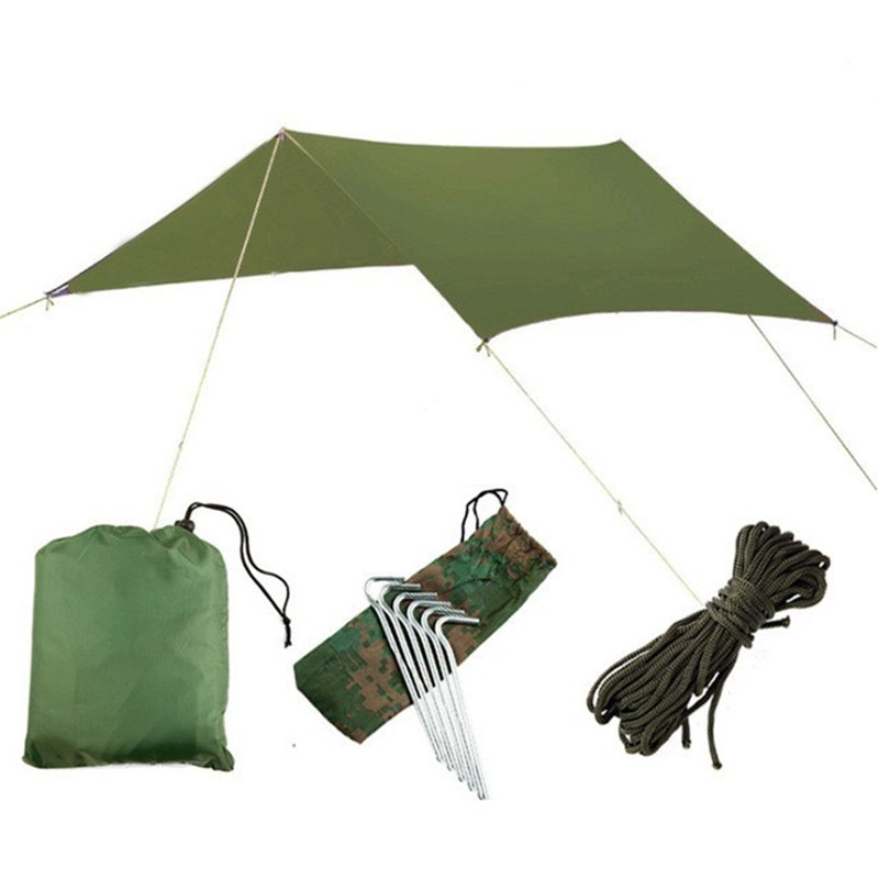 3Mx3M Waterproof Sun Shelter Tent Tarp Anti UV Beach Tent Shade Outdoor Camping Hammock Rain Fly Camping Sunshade Awning Canopy