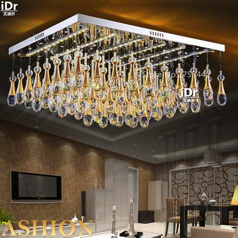 Flat Crystal Lamp Led Light Square Modern Minimalist Living Room Bedroom  Den Lighting Fixtures Ceiling Lights