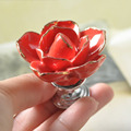 Red Ceramic Rose Flower Drawer Knobs Cabinet Baby Cabinet Knobs and Handles & Pulls Dresser Kitchen Knob Pack of 10
