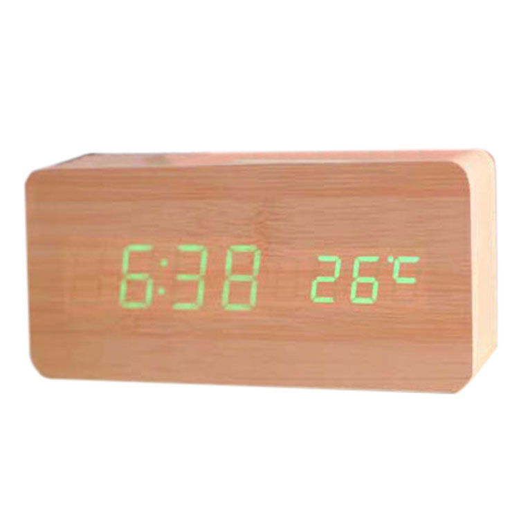 Durable (Voice Control Calendar Thermometer)Rectangle Wooden LED Digital Alarm Clock USB/AAA Bamboo Wood Green