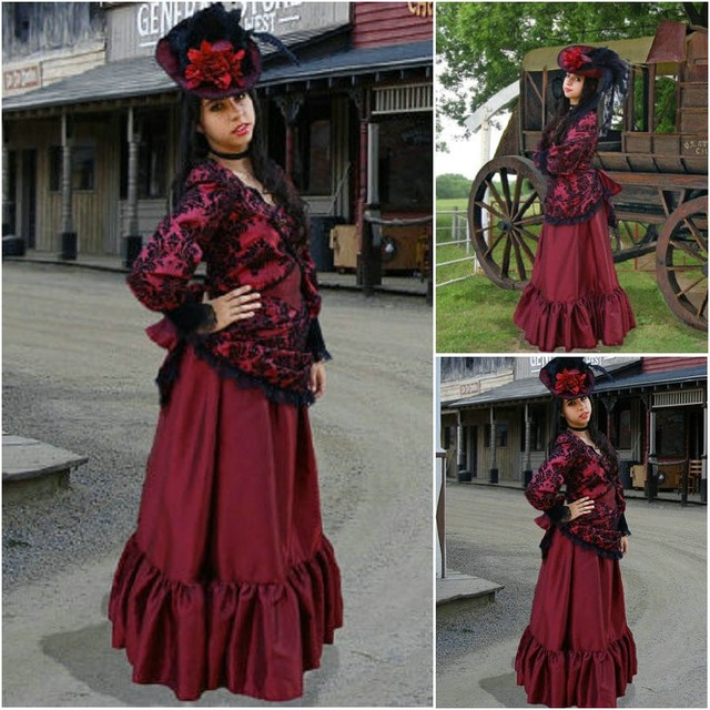 SC-392 Victorian Gothic/Vintage Dress Halloween Theater Movie punk style  dress flare sleeve Custom made
