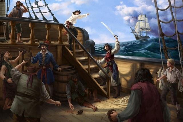 DIY FRAME Pirates Ships Painting Art Fantasy cloth silk art wall poster and prints