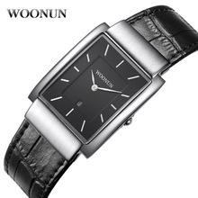 Купить с кэшбэком WOONUN Famous Brand Rectangle Watch Men Waterproof Shockproof Quartz Clock Thin Watch Men Luxury Dress Men Watches Leather