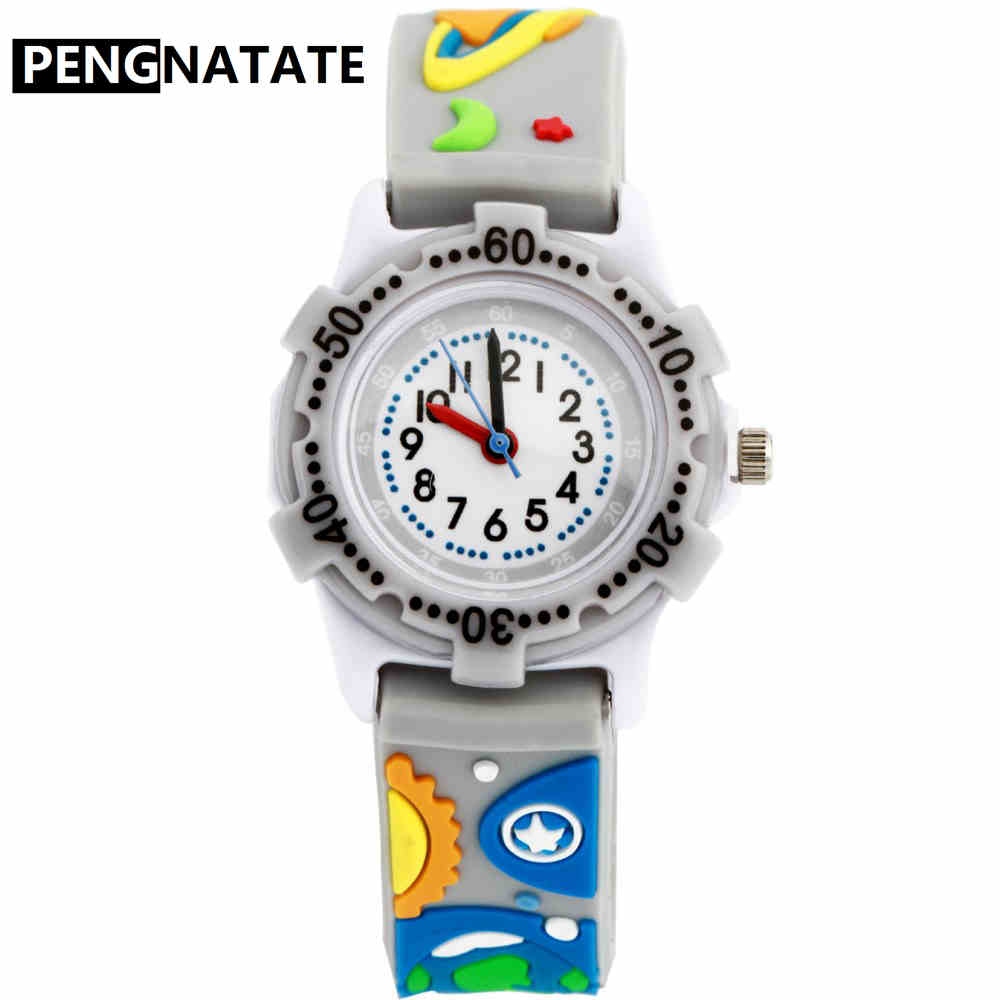 PENGNATATE Children Cartoon Watch 3D Space Strap Fashion Kids Watches Boys Rocket Silicone Bracelet Wristwatch Students Gifts