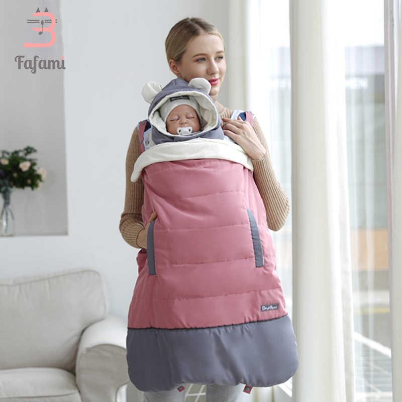 Capa de portador de bebê capa de alça de bebê capa ergonômica grossa à prova de vento com capuz capa manto a nível mochilas & portadores casaco inverno